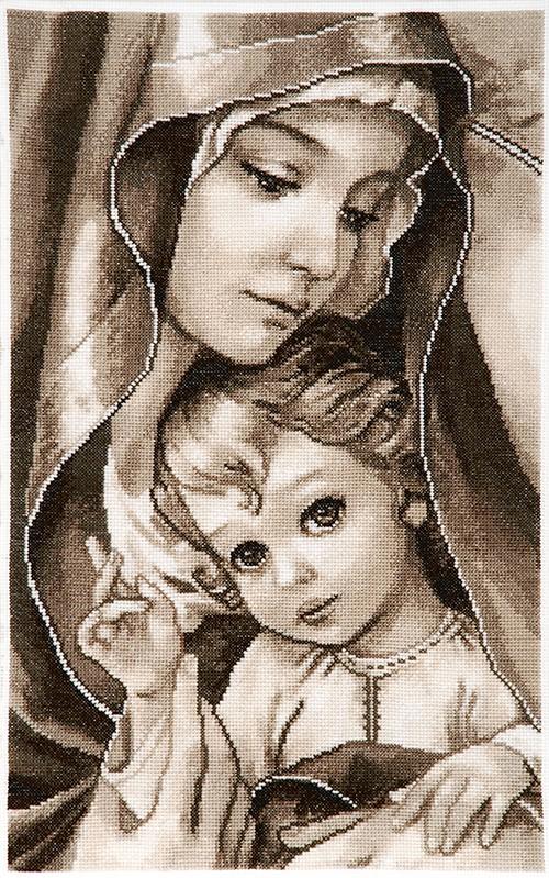 Вышивка мадонна с младенцем крестиком
