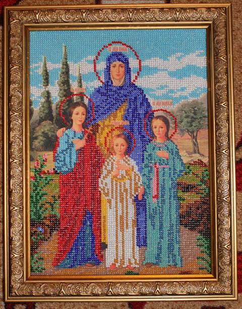 Икона надежда вера и любовь вышивка бисером 51